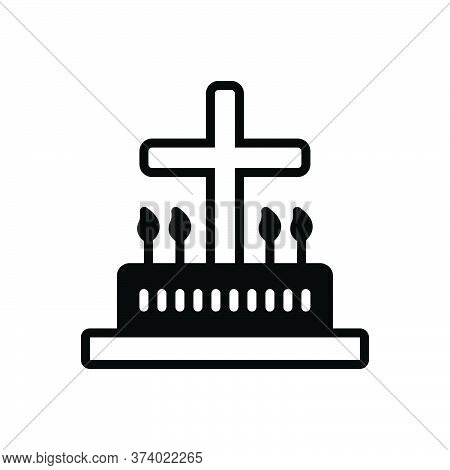 Black Solid Icon For Liturgic Liturgical Catholic Candle Christian Graveyard Cemetery