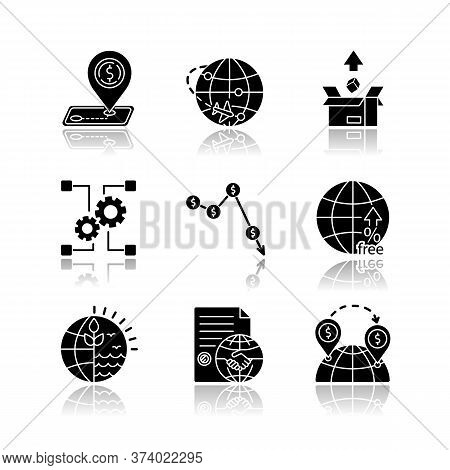 Global Trade, Export And Investments Drop Shadow Black Glyph Icons Set. Taxes And Non-tariff Barrier
