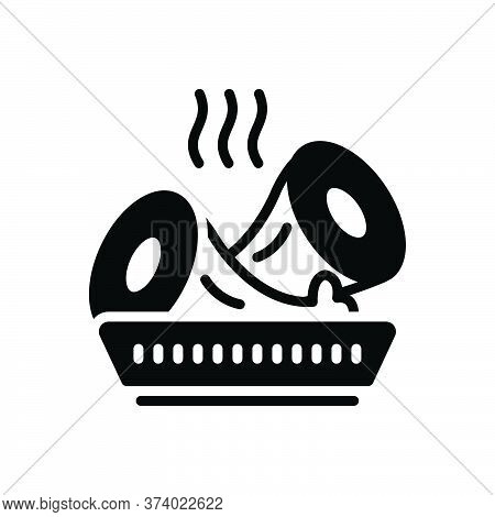 Black Solid Icon For Lunchmeat Hot Food Beef Sliced Rolled Cooked