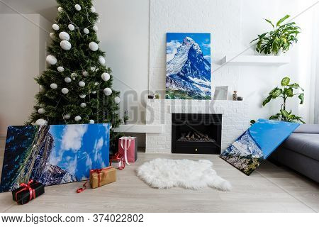 Photography Canvas Prints. Stacked Colorful Photos With Gallery Wrapping Method Of Canvas Stretching