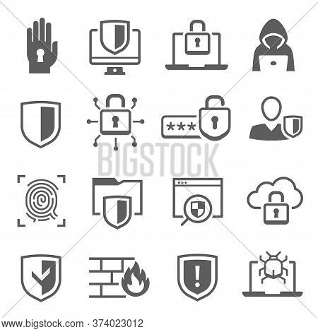 Web Cyber Security Icon Set, Digital Safety System