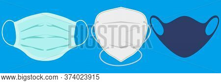 Variety Of Face Masks. Vector Illustration Of Different Type Corona Virus Protection Masks. Surgical