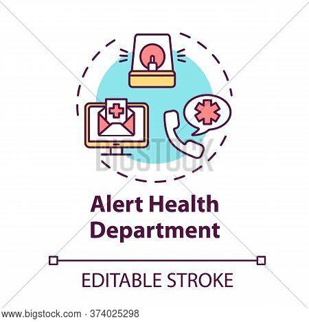 Alert Health Department Concept Icon. Warn Hospital. Health Care Precaution. Call Emergency Center.