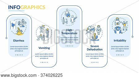 Food Poisoning Symptoms Vector Infographic Template. Severe Dehydration Presentation Design Elements
