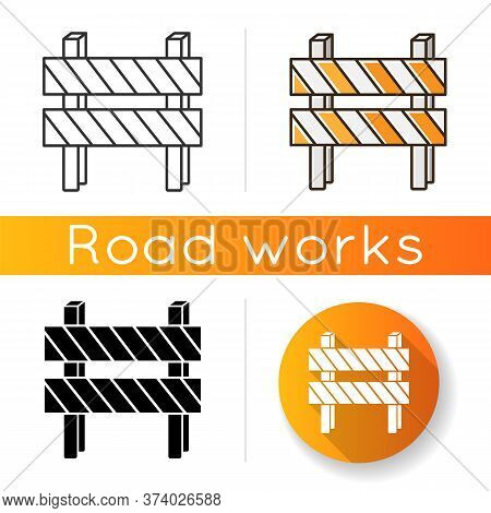 Road Barrier Icon. Striped Block On Highway. Dead End Sign. Barricade For Forbidden Work Site. Block