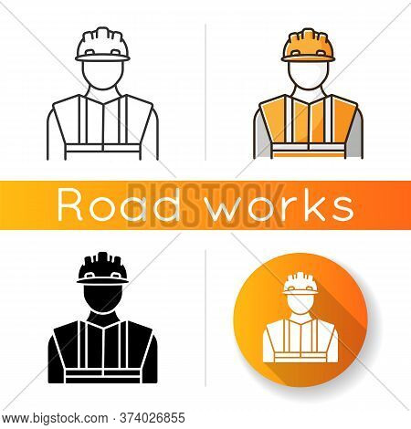 Worker In Uniform Icon. Construction Builder In Hardhat. Safety Helmet On Male Repairman. Profession