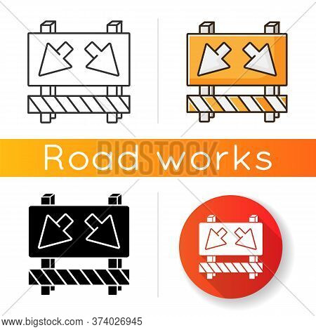 Detour Icon. Road Works Ahead Sign. Roadsign To Change Route. Roadblock On Street With Arrows. Take