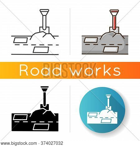 Patching Works Icon. Roadworks Construction. Fill Ground Hole With Shovel. Pothole In Pavement. Surf
