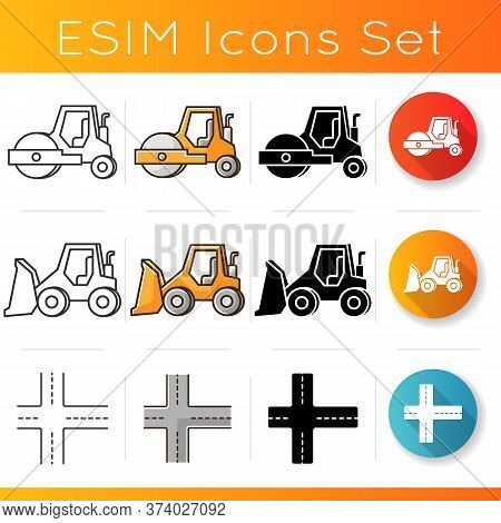 Road Works Icons Set. Compactor Type Vehicle For Construction Works. Roadworks Transportation. Rolle