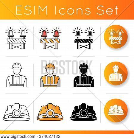Road Works Icons Set. Roadblock With Siren. Construction Builder In Hardhat. Worker Helmet. Caution