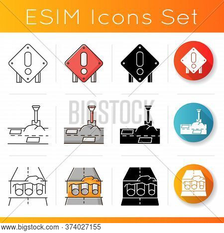 Road Works Icons Set. Attention Roadsign. Patching Works. Pothole In Pavement. Pipe Replacement. Civ