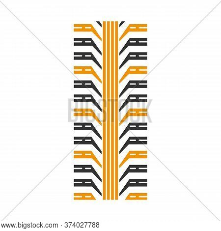 Tire Tread Black And Yellow Rgb Color Icon. Detailed Automobile, Motorcycle Tyre Marks. Car Wheel Tr