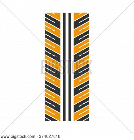 Tire Tread Black And Yellow Rgb Color Icon. Detailed Automobile, Motorcycle Tyre Marks. Directional