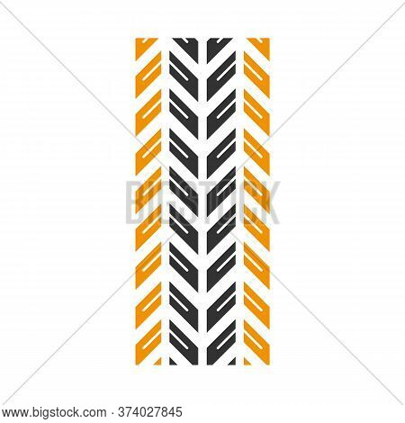 Track Marks Black And Yellow Rgb Color Icon. Detailed Automobile, Motorcycle Tyre Traces. Car Winter