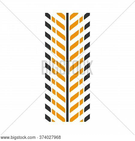 Tire Print Black And Yellow Rgb Color Icon. Detailed Automobile, Motorcycle Tyre Marks. Directional