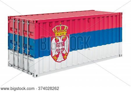Cargo Container With Serbian Flag, 3d Rendering Isolated On White Background
