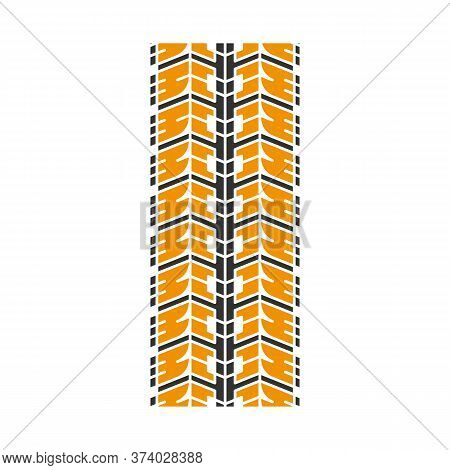 Wheel Traces Black And Yellow Rgb Color Icon. Detailed Automobile, Motorcycle Street Tyre Marks. Car