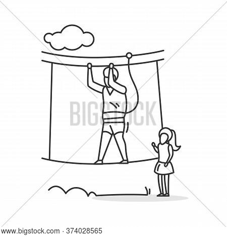 Rope Walk Icon. Father And Small Girl In Rope Park. Summer Vacation Family Outdoor Activity And Safe
