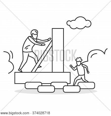 Family Activity Icon. Father And Son Climbing Self Built Obstacle Course. Concept Linear Pictogram F
