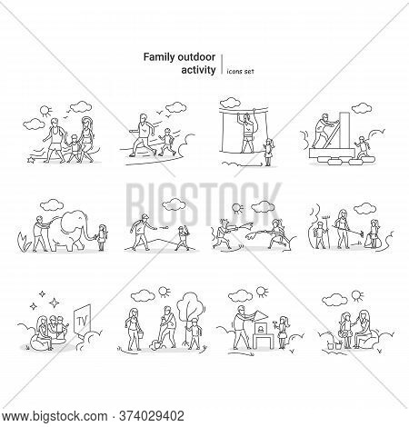 Family Outdoor Activity Icons Set. Summer Vacation Games, Activities And Fun Ideas For Children And