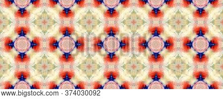 Majestic Floral Tile. Folk Embroidery. Ogee Geo Pattern. Colorful Seamless  Luxurious Lace Image. El