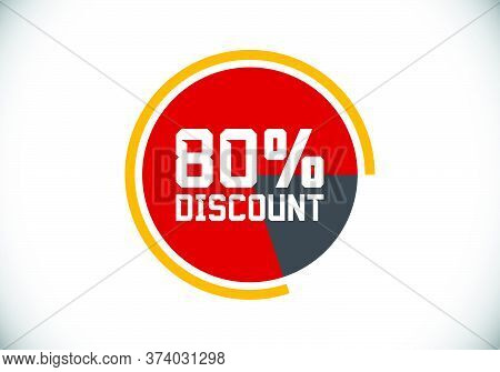 80% Off Discount Promotion Sale Brilliant Poster. Sale And Discount Labels. Price Off Tag Icon. Spec