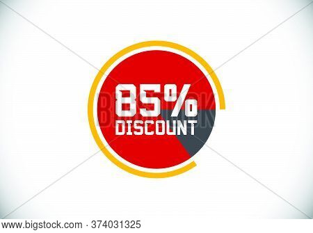 85% Off Discount Promotion Sale Brilliant Poster. Sale And Discount Labels. Price Off Tag Icon. Spec