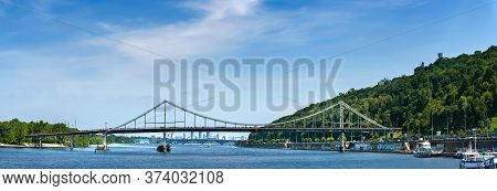 06/06/2020. Ukraine. Kiev. Panorama Of The Dnieper River, Embankment And Kiev Bridges. City Landscap