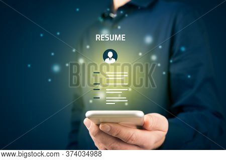 Human Resources Recruiter Read Resume On Smart Phone. Recruiting And Searching Human Resources Conce