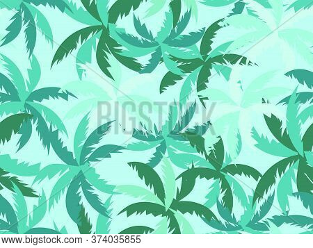 Palm Leaves Seamless Pattern. Tropical Jungle, Exotic Background. Typography Background For Advertis