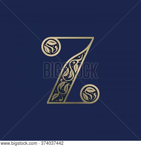 Vintage Z Letter Logo With Premium Decoration. Classic Line Serif Font. Vector Icon Perfect To Use I