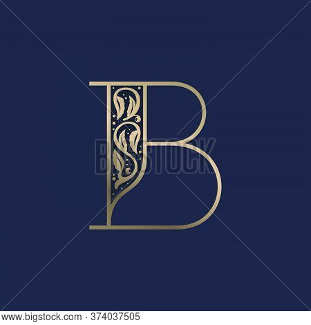 Vintage B Letter Logo With Premium Decoration. Classic Line Serif Font. Vector Icon Perfect To Use I