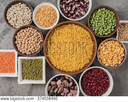 The Concept Of Healthy Eating. Different Legumes In Close-up.