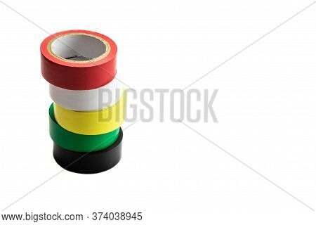 Tape Roll. Set Of Colorful Adhesive Paper Or Sticky Scotch Isolated On White Background. Torn Strip