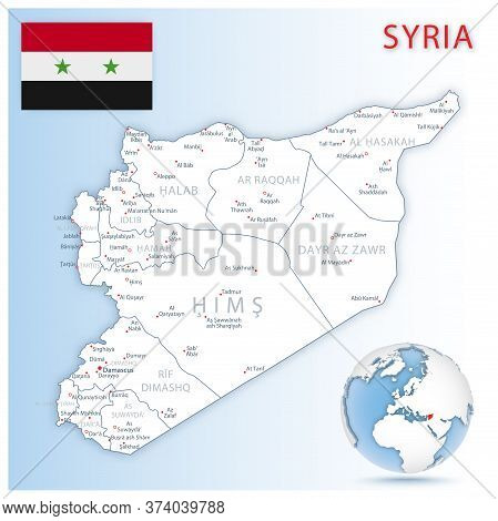 Detailed Syria Administrative Map With Country Flag And Location On A Blue Globe.