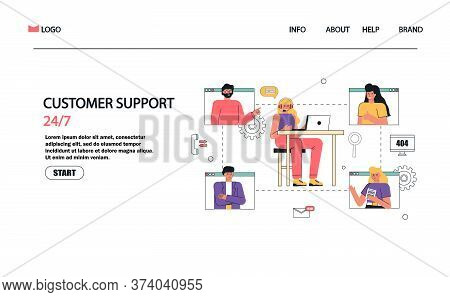 Woman With Headphones And Microphone With Laptop. Concept Vector Illustration For Chat, Call Center,