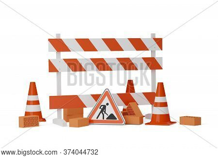 Orange Traffic Warning Cones Or Pylons With Street Or Road Construction Sign, Road Barrier And Stone