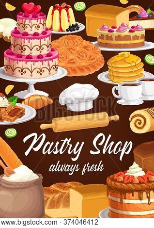 Desserts And Sweet Pastry Vector Banner. Bakery, Bread, Pie And Cake Confectionery. Wedding Cake Wit