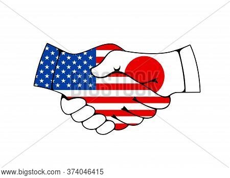 Usa And Japan Handshake, Trade And Business Deal Agreement Vector Icon. Joined Hands With Japanese A