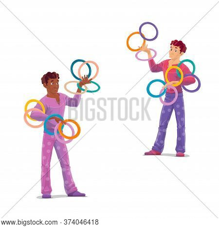 Top Tent Circus Jugglers. Isolated Cartoon Vector Artists Characters In Stage Costumes Throwing A Ri