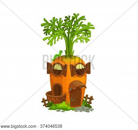 Cartoon Carrot Gnome House. Isolated Vector Ripe Cartoon Vegetable With Wooden Door, Round Windows,
