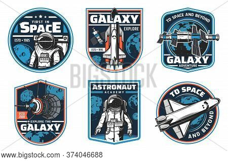 Astronaut Academy, Galaxy Explore Vector Icons. Space Shuttles Expedition, Exploration And Adventure