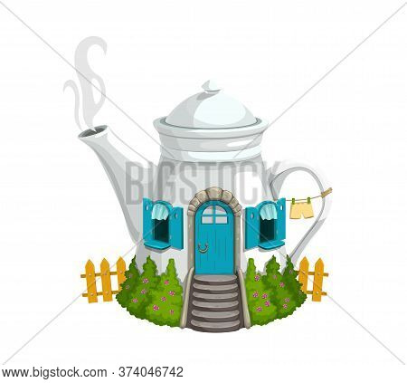 Cartoon Ceramics White Kettle Or Teapot Gnome House With Wooden Door, Windows And Steaming Pipe. Fan