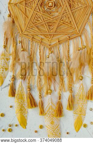 Closeup Details Modern Dreamcatcher Mandala With Painted Golden Feathers And Tassels