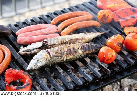 Summer Fish And Meat Bbq Grill Party, Beef Steak On The Grill, Concept Of Summer Grilling, Barbecue,
