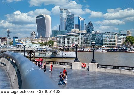 LONDON,UK - JULY 25,2019 : View of the City of London on a beautiful summer day