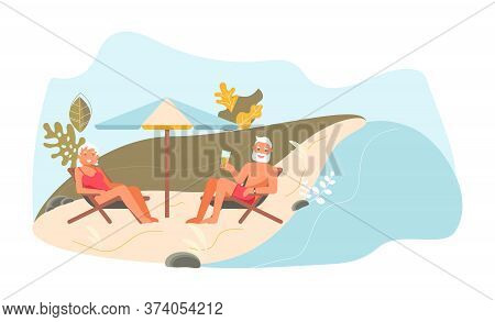 Romantic Elderly Couple At Picnic. Elderly Smiling Man And Woman Are Talking On The Beach. Cute Funn