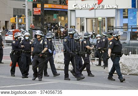 New York, New York/usa - June 2, 2020: Police Monitor On Union Square During George Floyd Protest.