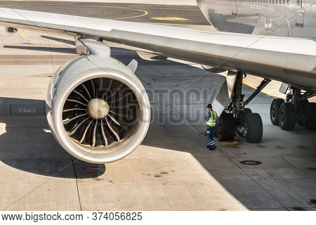 Frankfurt, Germany - July 3th, 2018: The Front Of The Engine Fan With Curved Blades Of A Boeing 747