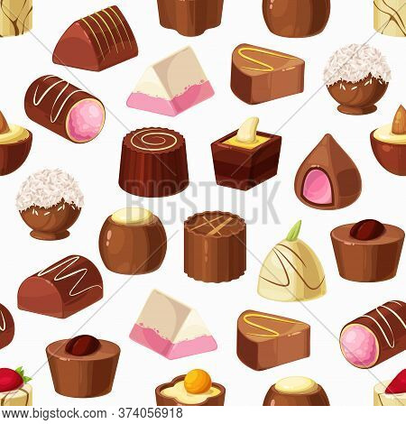 Chocolate Candies Seamless Pattern Of Sweet Food Vector Background. Truffle Desserts, White, Milk An